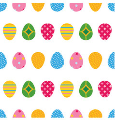 colorful cartoon style easter eggs pattern vector image