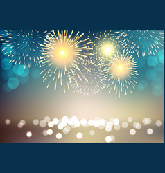 Colorful firework on city landscape background vector