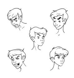 Contour pattern boys emotion set vector