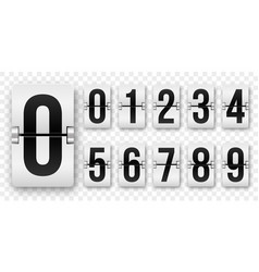 countdown numbers flip counter isolated 0 to 9 vector image