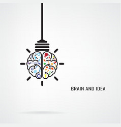 Creative brain Idea and light bulb concept vector image