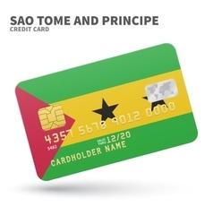 Credit card with Sao Tome and Principe flag vector