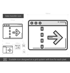 Data transfer line icon vector