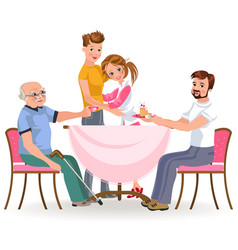 Family eating dinner home happy people eat food vector