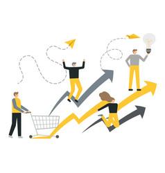 flat business concept success reaching a vector image