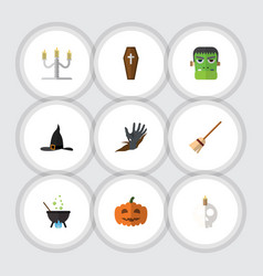 Flat icon halloween set of zombie cranium gourd vector