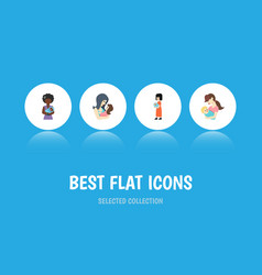 Flat icon mam set of newborn baby child baby and vector