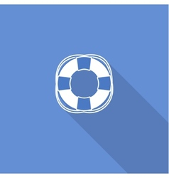 Flat long shadow sea icon isolated on blue vector image