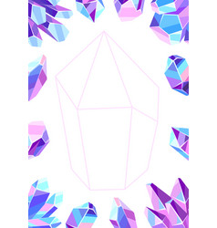 frame with crystals and minerals vector image