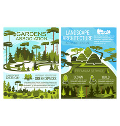Gardens association and landscape architecture vector