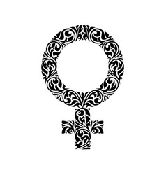 gender woman ornate black symbol vector image