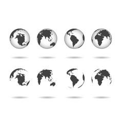 Globe earth icons world maps set 3d globus vector