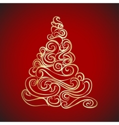 Gold Graphical Christmas tree vector