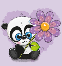 Greeting card panda with flower vector