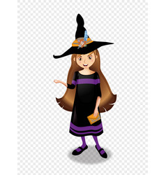 halloween of young witch girl with brown hair on vector image
