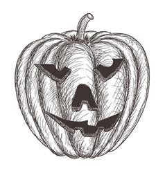 halloween pumpkin hand drawing sketch vector image