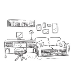 hand drawing interior vector image