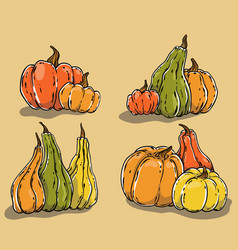 hand drawn pumpkins set vector image