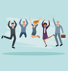 Happy business people jumping vector