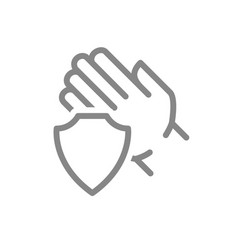 Human hand with shield line icon treatment hand vector