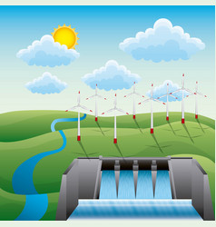 Hydroelectricity dam windmills landscape water vector