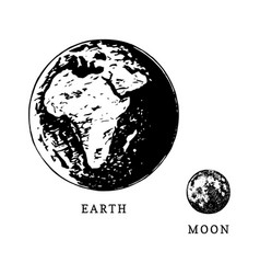 Images of earth planet and moon satellite in size vector
