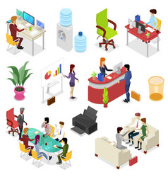 Isometric 3d set corporate office life vector