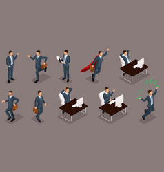 isometric entrepreneurs different scenes working o vector image