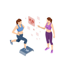 isometric woman doing fitness and yoga exercises vector image