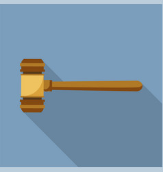 judge wood hammer icon flat style vector image