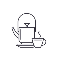 kettle and tea mug line icon concept kettle and vector image