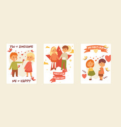 kids children girl boy characters in first vector image