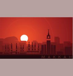 Mecca low sun skyline scene vector