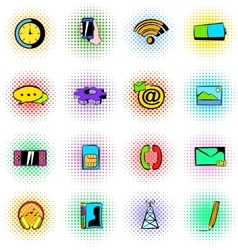 Mobile icons set comics style vector