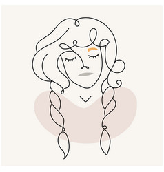 modern abstract facegirl with pigtails in a linea vector image