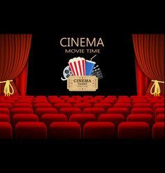 movie theater with row of red seats vector image