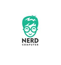 nerd computer logo design template vector image