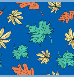 oak and maple autumn seamless pattern vector image