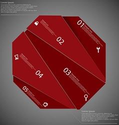 Octagon randomly cut to five parts on dark vector