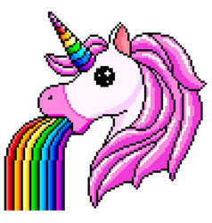 Pixel unicorn pukes rainbow isolated vector