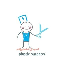 Plastic surgeon with scissors vector