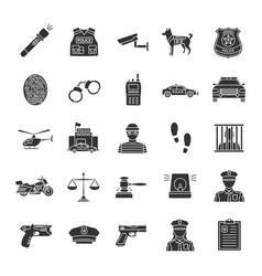 Police glyph icons set vector