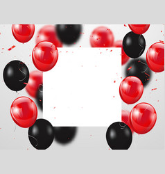 red and black balloons confetti and ribbons vector image