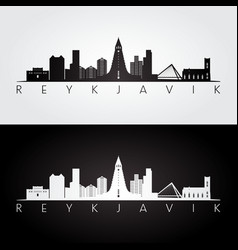 Reykjavik skyline and landmarks silhouette vector