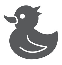 rubber duck glyph icon toy and bath vector image