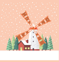 Rural windmill covered in snow vector
