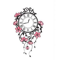 Sakura flowers and clock vector