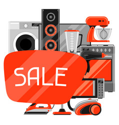 Sale background with home appliances household vector