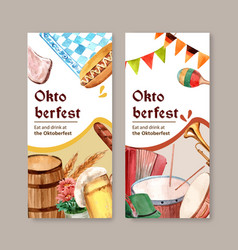 Sausage beer and musical at oktoberfest flyer vector