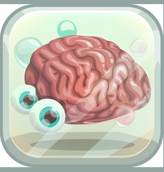 Scary app icon with creepy brain in tank vector